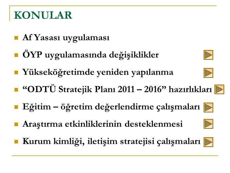 """ Af Yasası uygulaması  ÖYP uygulamasında değişiklikler  Yükseköğretimde yeniden yapılanma  """"ODTÜ Stratejik Planı 2011 – 2016"""" hazırlıkları  Eğiti"""