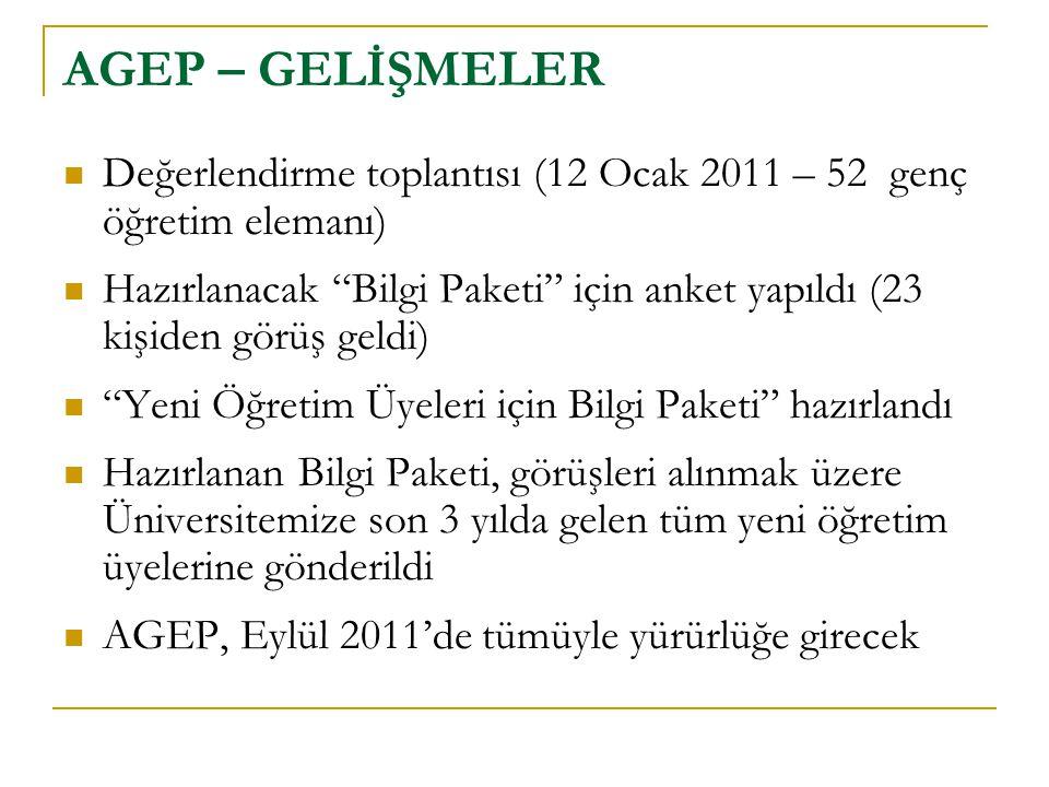 """AGEP – GELİŞMELER  Değerlendirme toplantısı (12 Ocak 2011 – 52 genç öğretim elemanı)  Hazırlanacak """"Bilgi Paketi"""" için anket yapıldı (23 kişiden gör"""