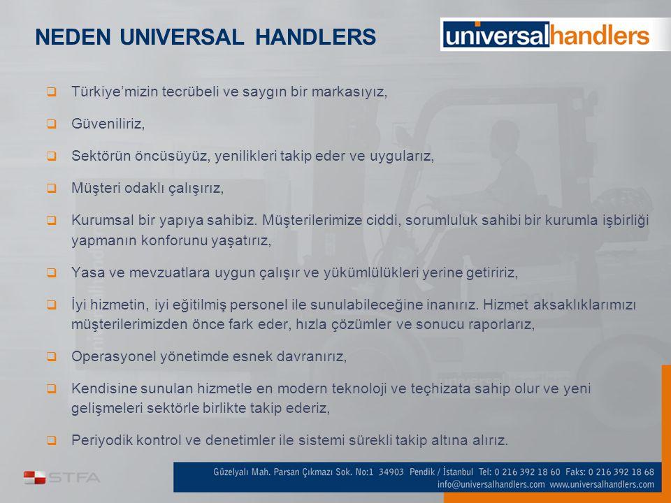 NEDEN UNIVERSAL HANDLERS  Türkiye'mizin tecrübeli ve saygın bir markasıyız,  Güveniliriz,  Sektörün öncüsüyüz, yenilikleri takip eder ve uygularız,