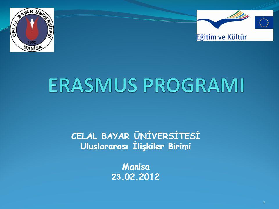 1 CELAL BAYAR ÜNİVERSİTESİ Uluslararası İlişkiler Birimi Manisa 23.02.2012