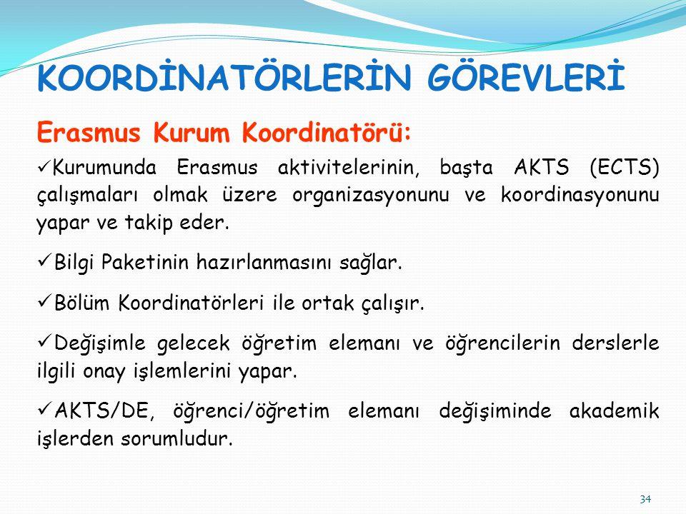 34 KOORDİNATÖRLERİN GÖREVLERİ Erasmus Kurum Koordinatörü:  Kurumunda Erasmus aktivitelerinin, başta AKTS (ECTS) çalışmaları olmak üzere organizasyonunu ve koordinasyonunu yapar ve takip eder.