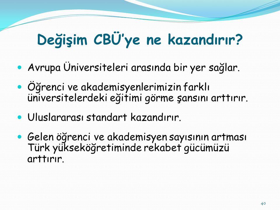 40 Değişim CBÜ'ye ne kazandırır. Avrupa Üniversiteleri arasında bir yer sağlar.
