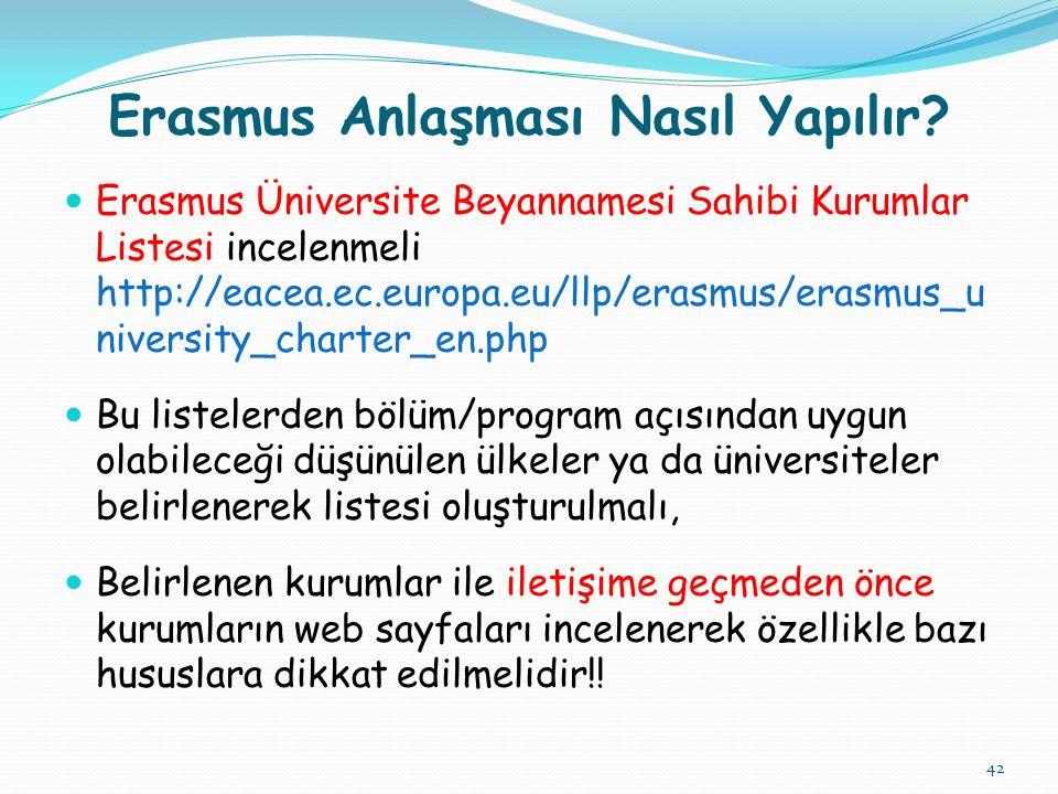 42 Erasmus Anlaşması Nasıl Yapılır.