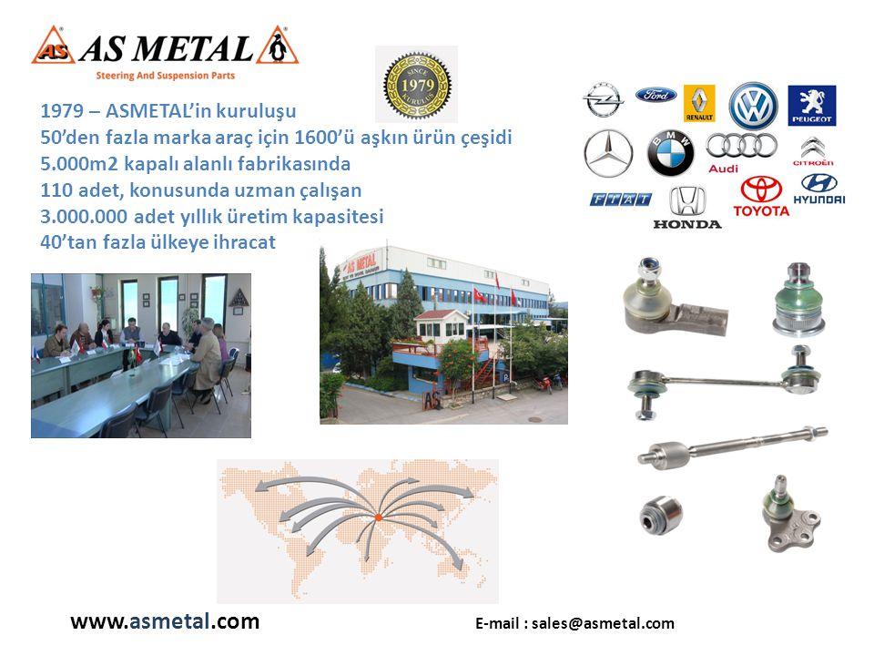 1979 – ASMETAL'in kuruluşu 50'den fazla marka araç için 1600'ü aşkın ürün çeşidi 5.000m2 kapalı alanlı fabrikasında 110 adet, konusunda uzman çalışan 3.000.000 adet yıllık üretim kapasitesi 40'tan fazla ülkeye ihracat www.asmetal.com E-mail : sales@asmetal.com