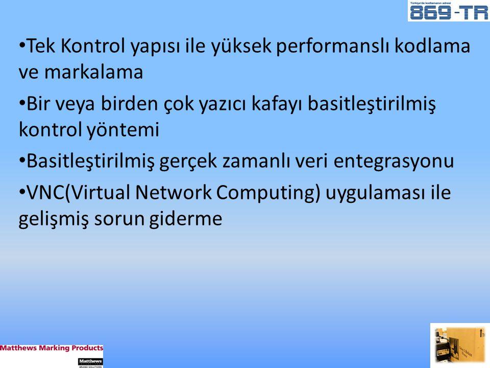 • Tek Kontrol yapısı ile yüksek performanslı kodlama ve markalama • Bir veya birden çok yazıcı kafayı basitleştirilmiş kontrol yöntemi • Basitleştirilmiş gerçek zamanlı veri entegrasyonu • VNC(Virtual Network Computing) uygulaması ile gelişmiş sorun giderme