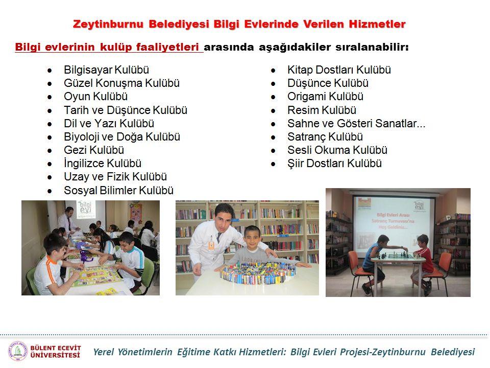 Bilgi evlerinin kulüp faaliyetleri arasında aşağıdakiler sıralanabilir: Zeytinburnu Belediyesi Bilgi Evlerinde Verilen Hizmetler Yerel Yönetimlerin Eğ