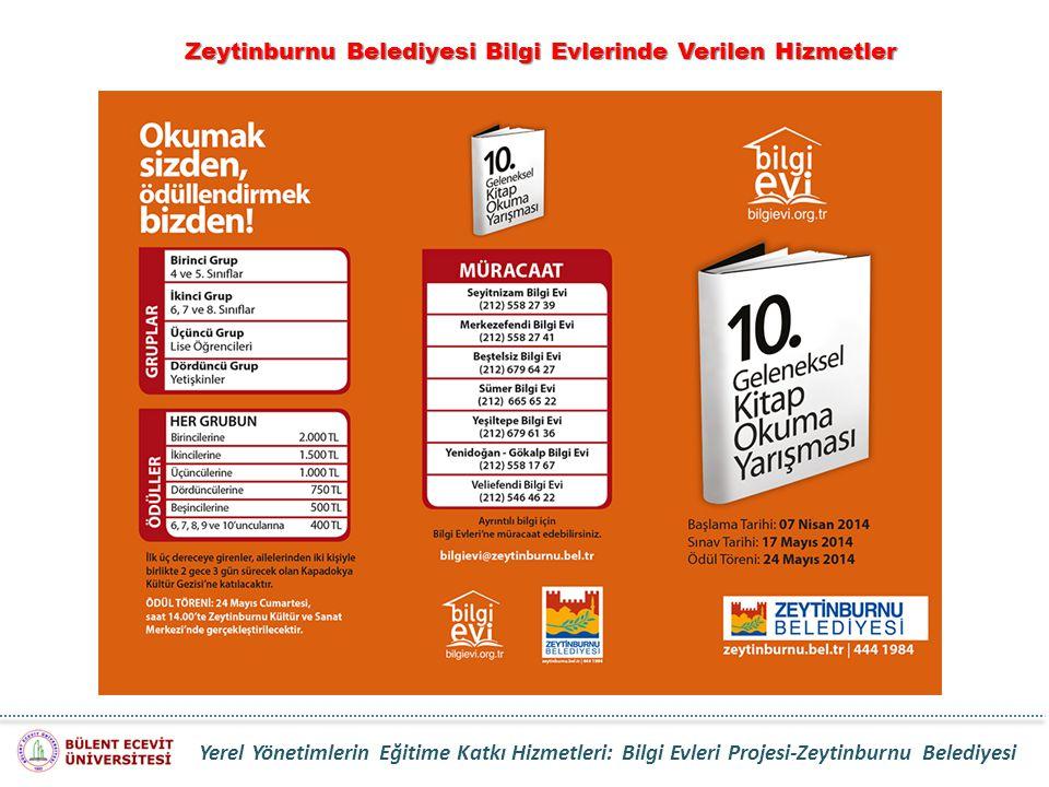Zeytinburnu Belediyesi Bilgi Evlerinde Verilen Hizmetler Yerel Yönetimlerin Eğitime Katkı Hizmetleri: Bilgi Evleri Projesi-Zeytinburnu Belediyesi