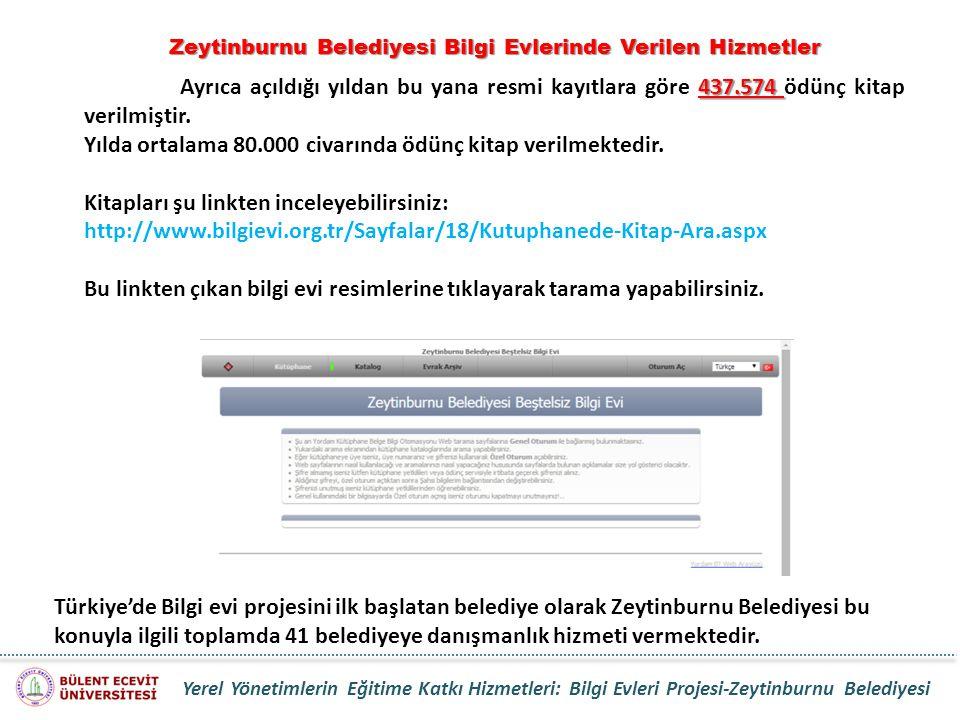 Zeytinburnu Belediyesi Bilgi Evlerinde Verilen Hizmetler 437.574 Ayrıca açıldığı yıldan bu yana resmi kayıtlara göre 437.574 ödünç kitap verilmiştir.