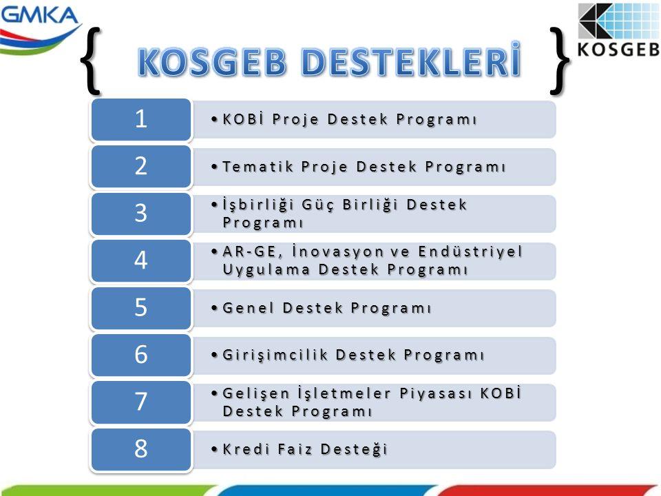 •KOBİ Proje Destek Programı 1 •Tematik Proje Destek Programı 2 •İşbirliği Güç Birliği Destek Programı 3 •AR-GE, İnovasyon ve Endüstriyel Uygulama Dest