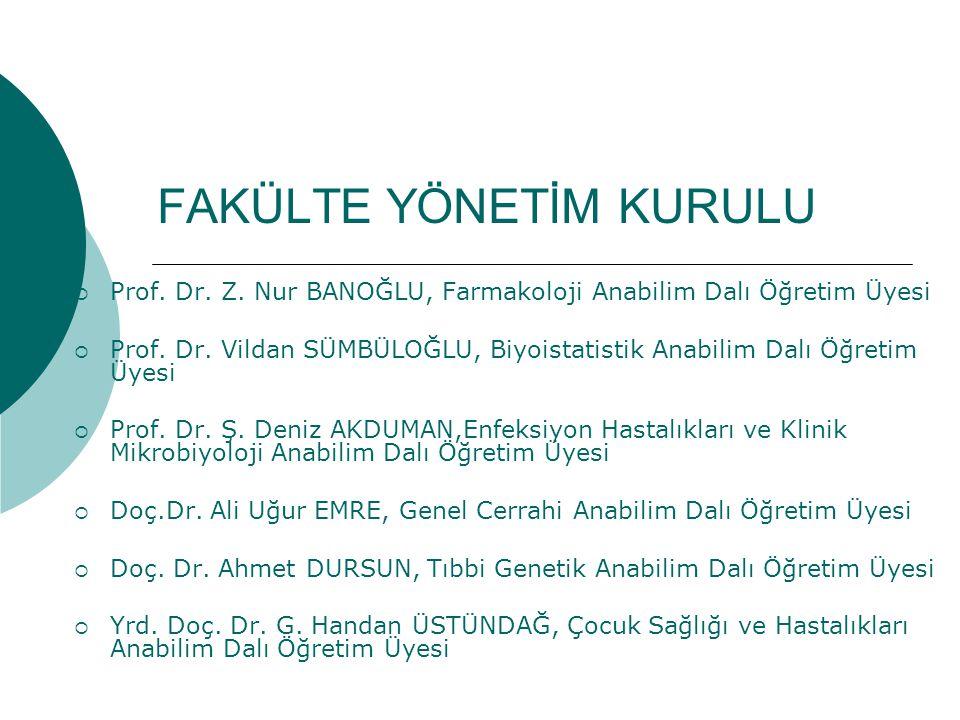 FAKÜLTE YÖNETİM KURULU  Prof.Dr. Z. Nur BANOĞLU, Farmakoloji Anabilim Dalı Öğretim Üyesi  Prof.