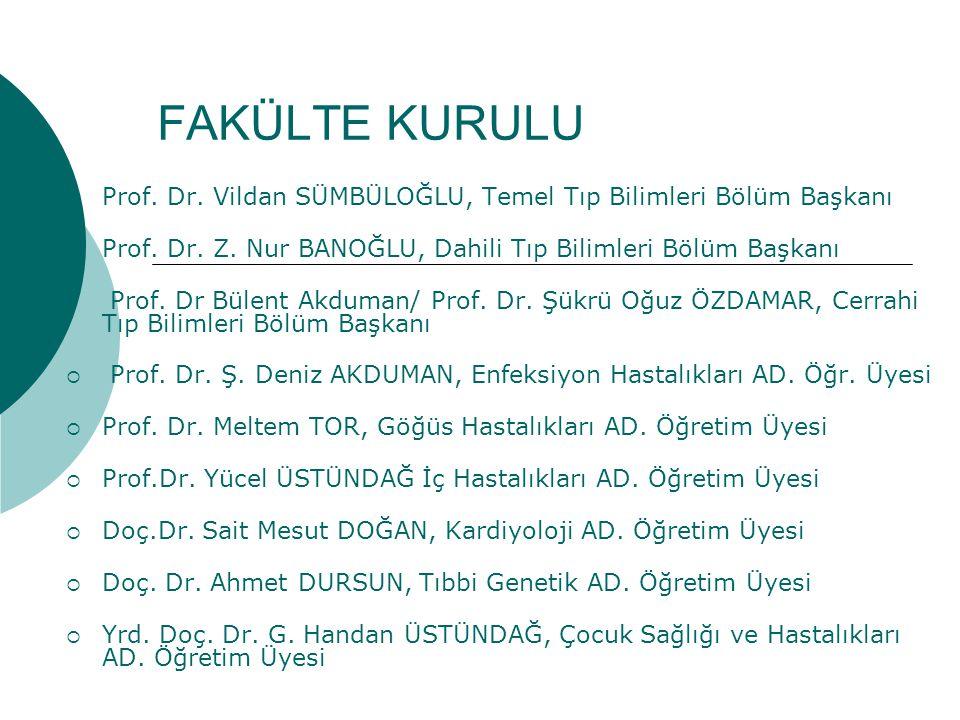 FAKÜLTE KURULU  Prof.Dr. Vildan SÜMBÜLOĞLU, Temel Tıp Bilimleri Bölüm Başkanı  Prof.