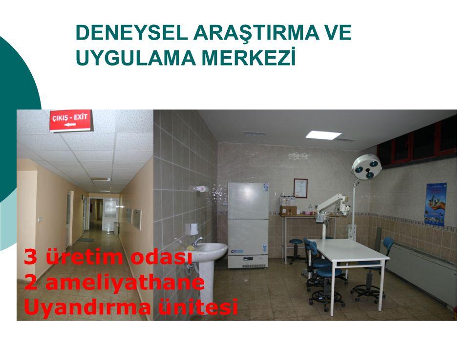 DENEYSEL ARAŞTIRMA VE UYGULAMA MERKEZİ 3 üretim odası 2 ameliyathane Uyandırma ünitesi