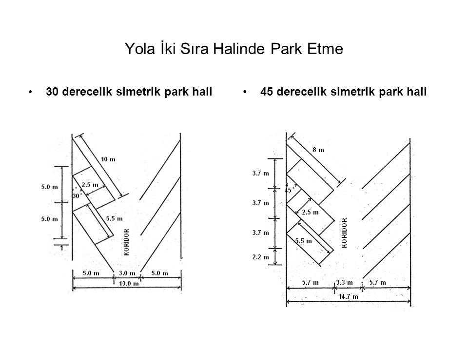 Yola İki Sıra Halinde Park Etme •30 derecelik simetrik park hali•45 derecelik simetrik park hali