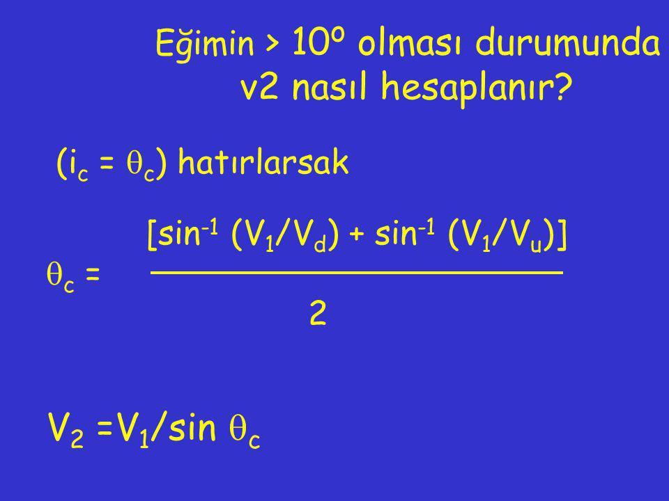 Eğimin > 10 o olması durumunda v2 nasıl hesaplanır? (i c =  c ) hatırlarsak [sin -1 (V 1 /V d ) + sin -1 (V 1 /V u )]  c = 2 V 2 =V 1 /sin  c