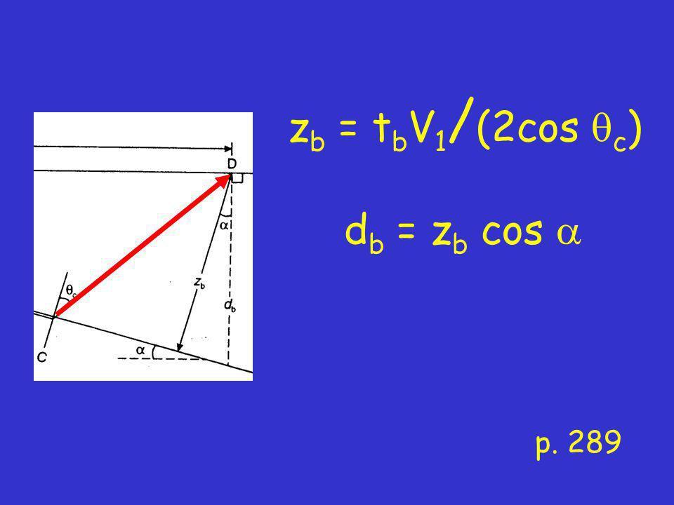 p. 289 z b = t b V 1 / (2cos  c ) d b = z b cos 