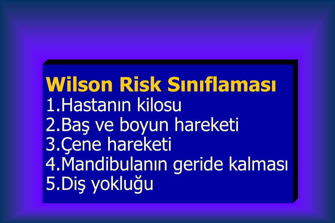 Wilson Risk Sınıflaması 1.Hastanın kilosu 2.Baş ve boyun hareketi 3.Çene hareketi 4.Mandibulanın geride kalması 5.Diş yokluğu