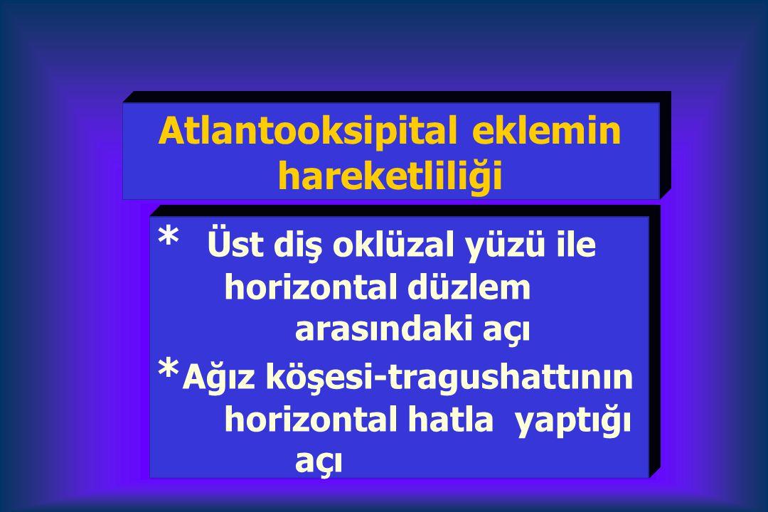 * Üst diş oklüzal yüzü ile horizontal düzlem arasındaki açı * Ağız köşesi-tragushattının horizontal hatla yaptığı açı Atlantooksipital eklemin hareket
