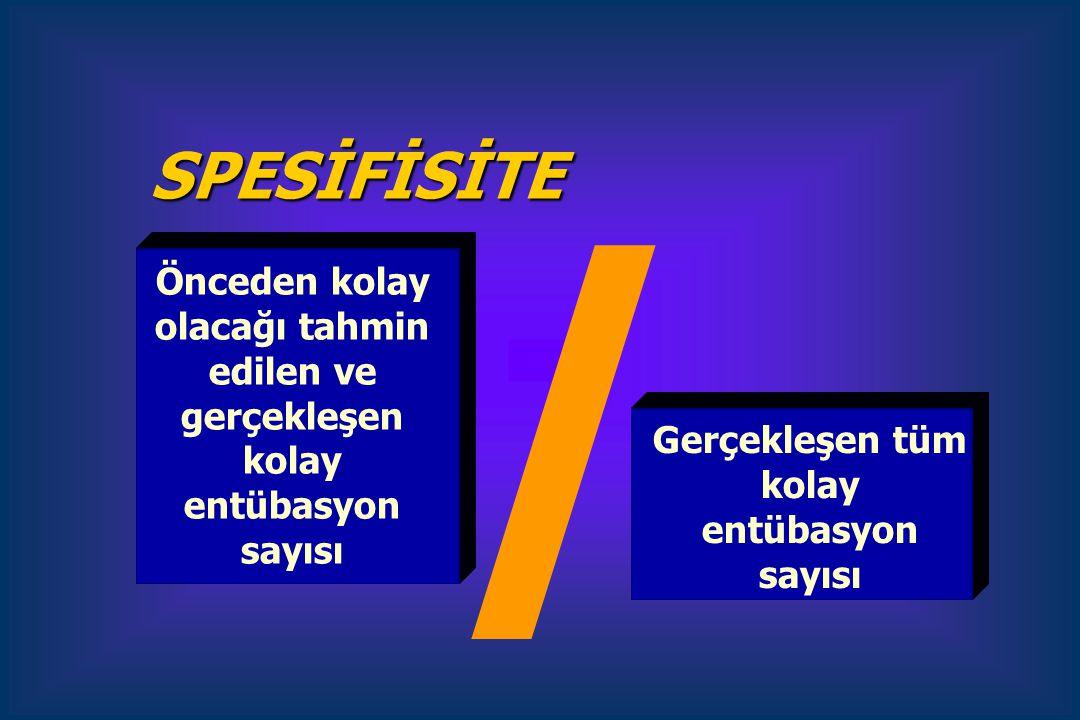 Önceden kolay olacağı tahmin edilen ve gerçekleşen kolay entübasyon sayısı Gerçekleşen tüm kolay entübasyon sayısı SPESİFİSİTE /