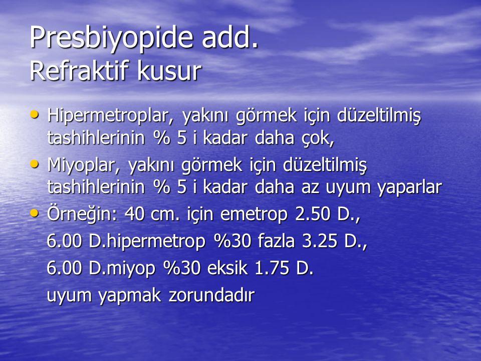 Presbiyopide add. Refraktif kusur • Hipermetroplar, yakını görmek için düzeltilmiş tashihlerinin % 5 i kadar daha çok, • Miyoplar, yakını görmek için