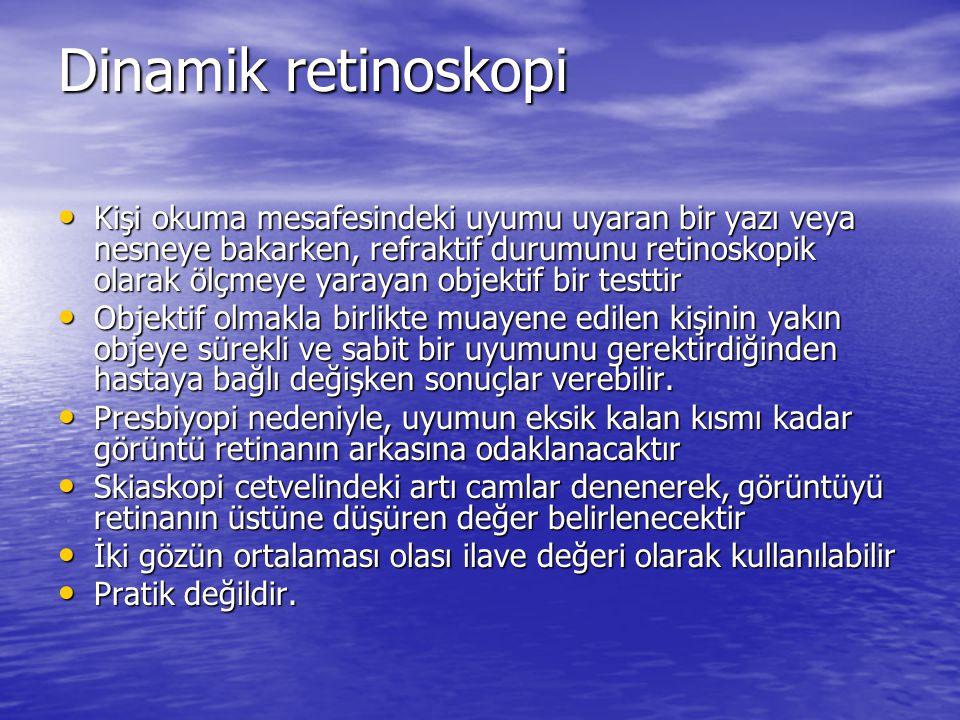 Dinamik retinoskopi • Kişi okuma mesafesindeki uyumu uyaran bir yazı veya nesneye bakarken, refraktif durumunu retinoskopik olarak ölçmeye yarayan obj