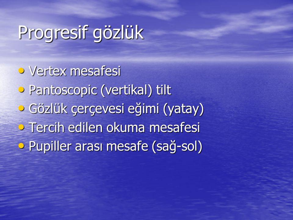 Progresif gözlük • Vertex mesafesi • Pantoscopic (vertikal) tilt • Gözlük çerçevesi eğimi (yatay) • Tercih edilen okuma mesafesi • Pupiller arası mesa