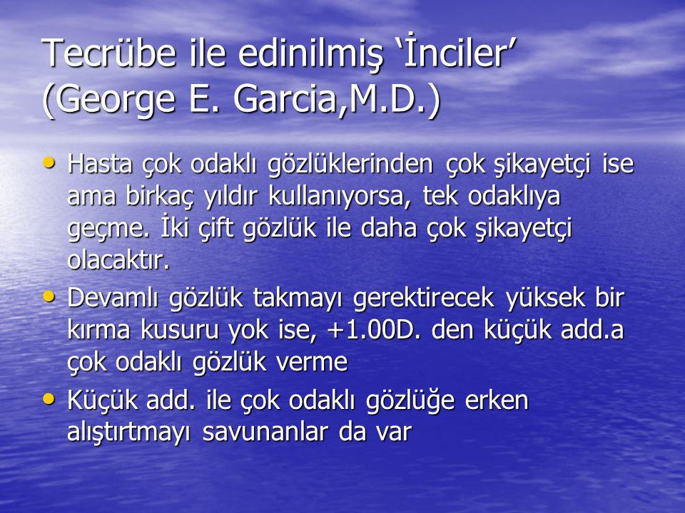 Tecrübe ile edinilmiş 'İnciler' (George E. Garcia,M.D.) • Hasta çok odaklı gözlüklerinden çok şikayetçi ise ama birkaç yıldır kullanıyorsa, tek odaklı