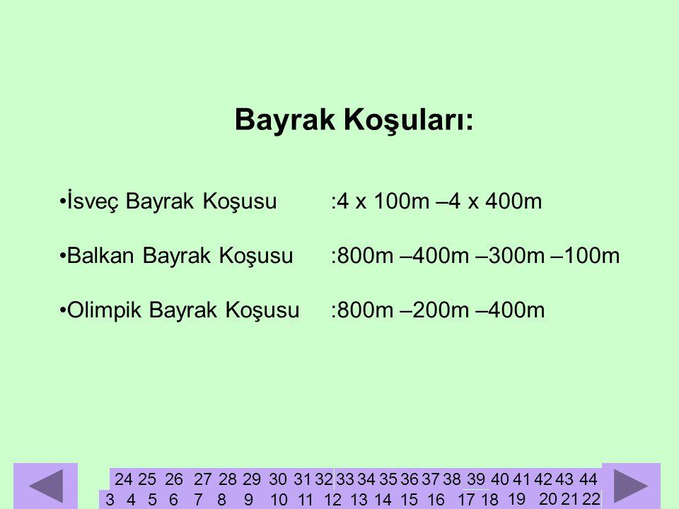 •İsveç Bayrak Koşusu:4 x 100m –4 x 400m •Balkan Bayrak Koşusu:800m –400m –300m –100m •Olimpik Bayrak Koşusu:800m –200m –400m Bayrak Koşuları: 3456789101112131415161718 27 19202122 242526 2829303132333435363738 39 4041424344