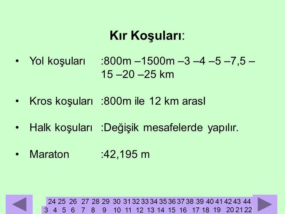 •Yol koşuları:800m –1500m –3 –4 –5 –7,5 – 15 –20 –25 km •Kros koşuları:800m ile 12 km arasI •Halk koşuları:Değişik mesafelerde yapılır.