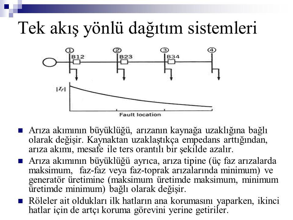 Tek akış yönlü dağıtım sistemleri  Arıza akımının büyüklüğü, arızanın kaynağa uzaklığına bağlı olarak değişir. Kaynaktan uzaklaştıkça empedans arttığ