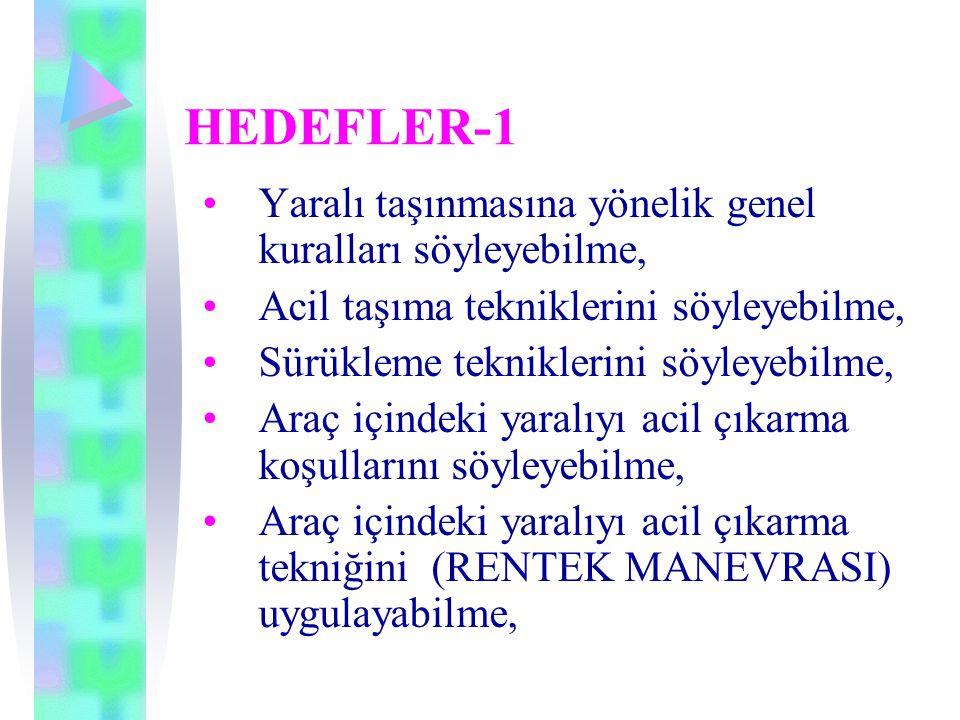HEDEFLER-1 •Yaralı taşınmasına yönelik genel kuralları söyleyebilme, •Acil taşıma tekniklerini söyleyebilme, •Sürükleme tekniklerini söyleyebilme, •Araç içindeki yaralıyı acil çıkarma koşullarını söyleyebilme, •Araç içindeki yaralıyı acil çıkarma tekniğini (RENTEK MANEVRASI) uygulayabilme,