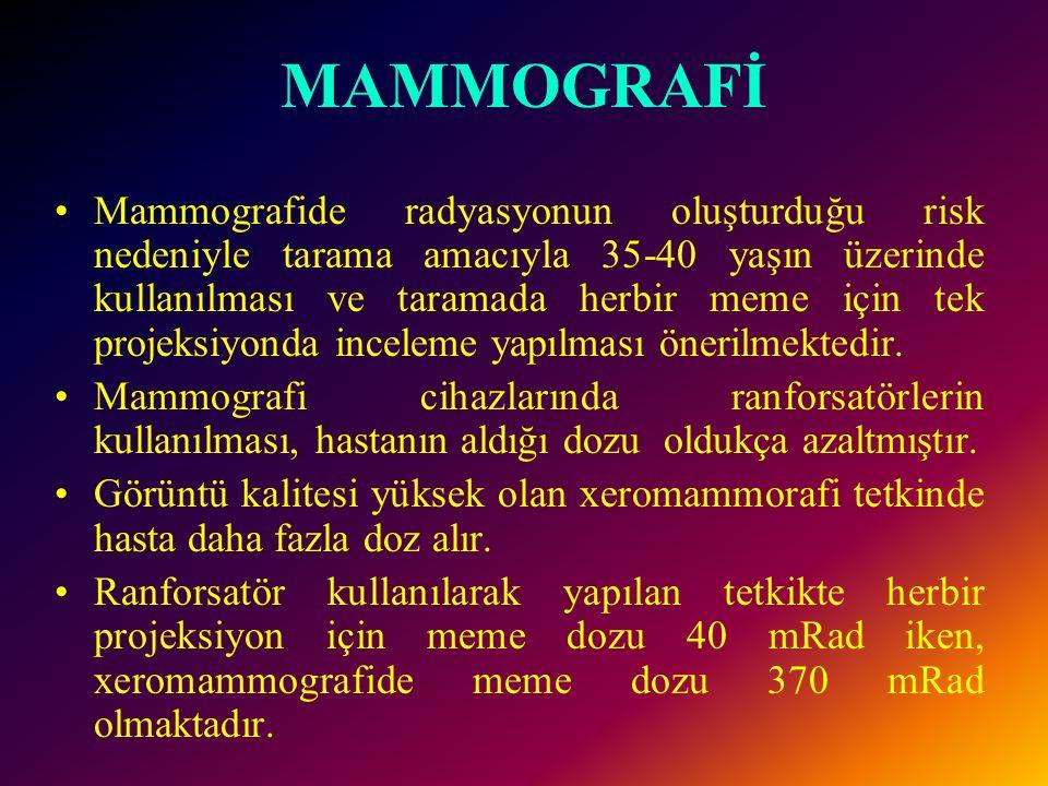 MAMMOGRAFİ •Mammografide radyasyonun oluşturduğu risk nedeniyle tarama amacıyla 35-40 yaşın üzerinde kullanılması ve taramada herbir meme için tek pro