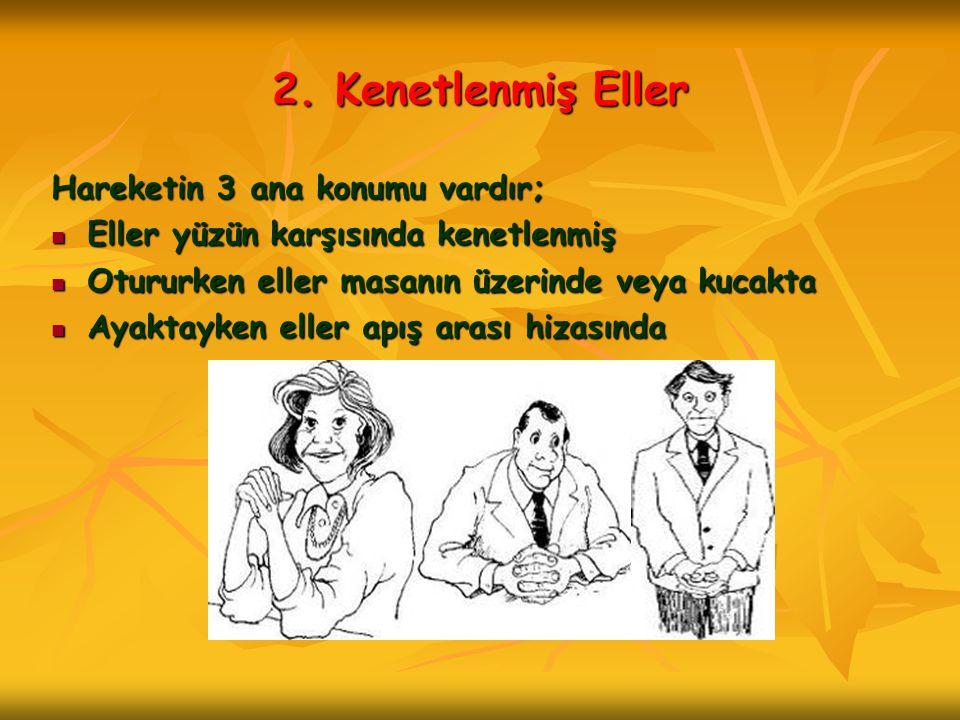 2. Kenetlenmiş Eller Hareketin 3 ana konumu vardır;  Eller yüzün karşısında kenetlenmiş  Otururken eller masanın üzerinde veya kucakta  Ayaktayken