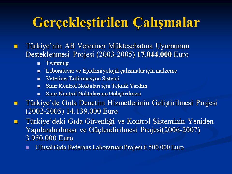 Gerçekleştirilen Çalışmalar  Türkiye'nin AB Veteriner Müktesebatına Uyumunun Desteklenmesi Projesi (2003-2005) 17.044.000 Euro  Twinning  Laboratuvar ve Epidemiyolojik çalışmalar için malzeme  Veteriner Enformasyon Sistemi  Sınır Kontrol Noktaları için Teknik Yardım  Sınır Kontrol Noktalarının Geliştirilmesi  Türkiye'de Gıda Denetim Hizmetlerinin Geliştirilmesi Projesi (2002-2005) 14.139.000 Euro  Türkiye'deki Gıda Güvenliği ve Kontrol Sisteminin Yeniden Yapılandırılması ve Güçlendirilmesi Projesi(2006-2007) 3.950.000 Euro  Ulusal Gıda Referans Laboratuarı Projesi 6.500.000 Euro