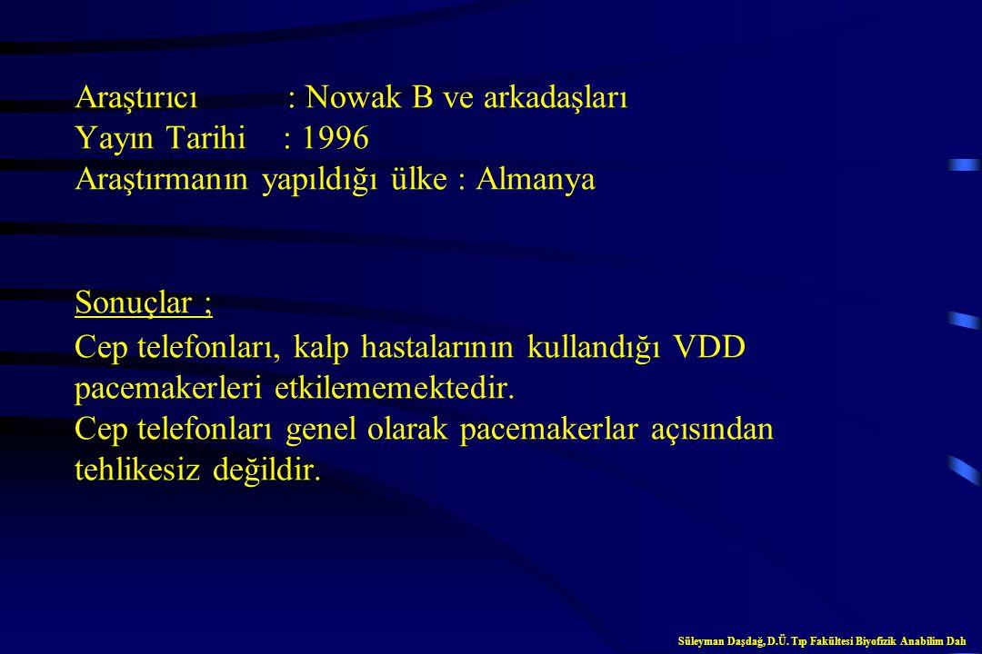 Araştırıcı : Wilke A ve arkadaşları Yayın Tarihi : 1996 Araştırmanın yapıldığı ülke : Almanya Sonuçlar ; Pacemakerli kalp hastaları cep telefonu kulla