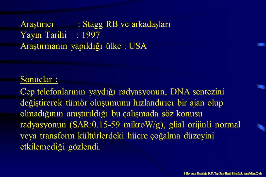Araştırıcı : Robert S ve arkadaşları Yayın Tarihi : 1997 Araştırmanın yapıldığı ülke : USA Sonuçlar ; Fare C3 10T1/2 fibroblastları ve insan glioblast