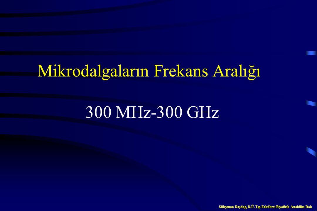 Mikrodalgaların Frekans Aralığı 300 MHz-300 GHz Süleyman Daşdağ, D.Ü.