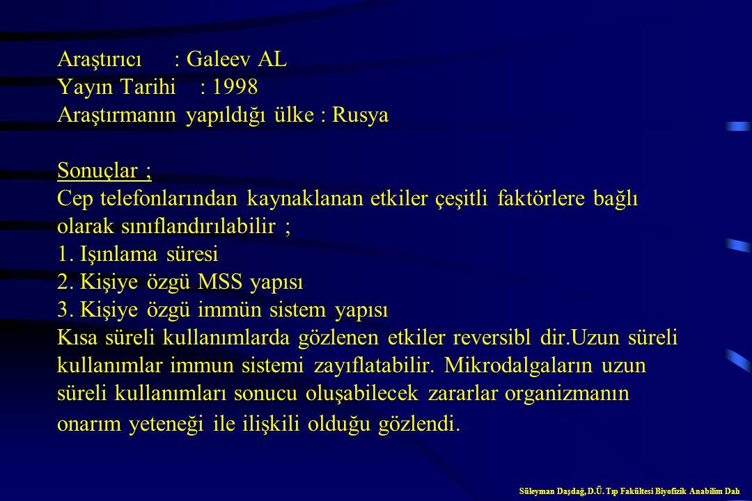 Araştırıcı : Jensh RP Yayın Tarihi : 1997 Araştırmanın yapıldığı ülke : USA Sonuçlar ; Cep telefonlarından kaynaklanan radyasyonla etkileşen hamile fa