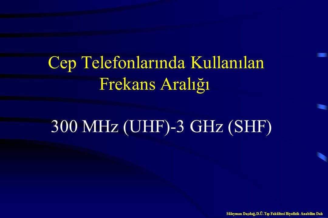 Mikrodalgaların Frekans Aralığı 300 MHz-300 GHz Süleyman Daşdağ, D.Ü. Tıp Fakültesi Biyofizik Anabilim Dalı