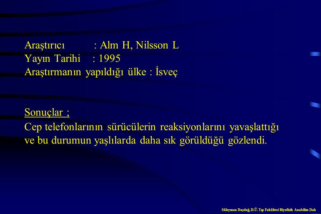 Araştırıcı : Alm H, Nilsson L Yayın Tarihi : 1994 Araştırmanın yapıldığı ülke : İsveç Sonuçlar ; Mobil telefonu kullanan sürücülerin reaksiyon zamanla
