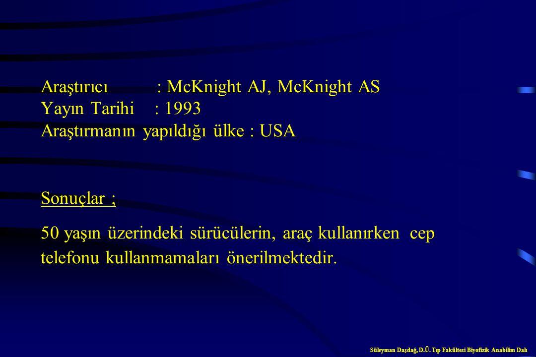 Araştırıcı : Alm H, Nilsson L Yayın Tarihi : 1995 Araştırmanın yapıldığı ülke : İsveç Sonuçlar ; Cep telefonlarının sürücülerin reaksiyonlarını yavaşl
