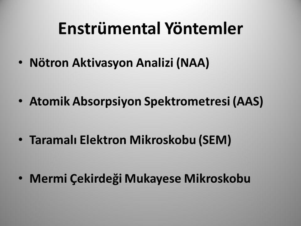 Enstrümental Yöntemler • Nötron Aktivasyon Analizi (NAA) • Atomik Absorpsiyon Spektrometresi (AAS) • Taramalı Elektron Mikroskobu (SEM) • Mermi Çekird