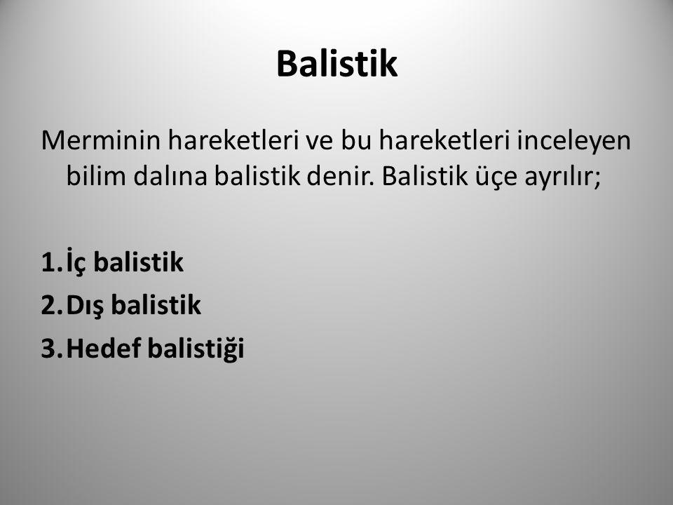 Balistik Merminin hareketleri ve bu hareketleri inceleyen bilim dalına balistik denir. Balistik üçe ayrılır; 1.İç balistik 2.Dış balistik 3.Hedef bali