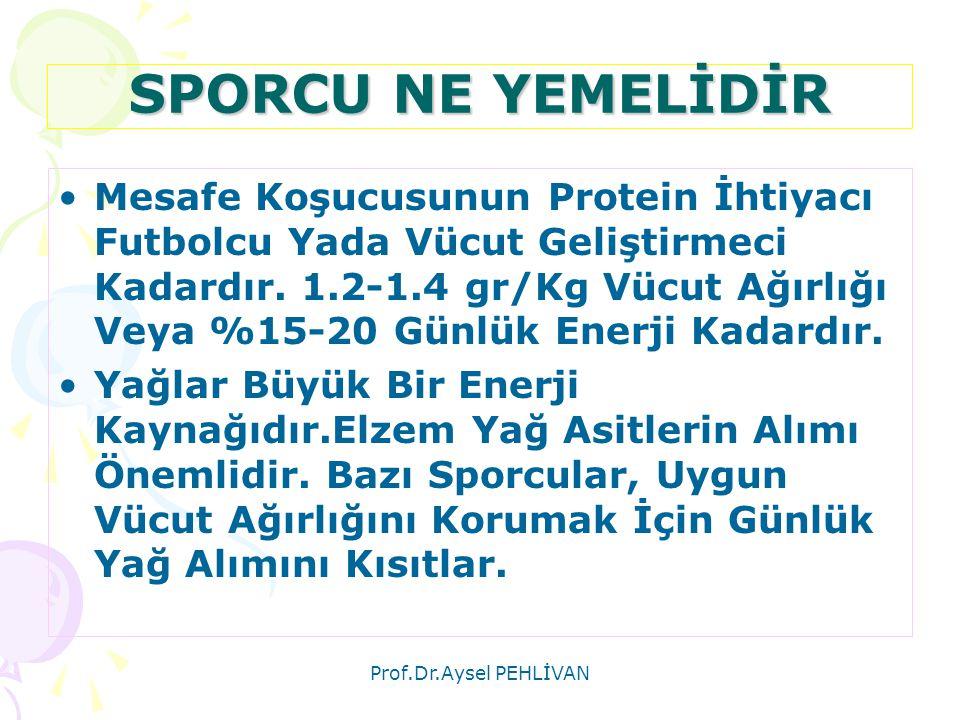 Prof.Dr.Aysel PEHLİVAN SPORCU NE YEMELİDİR •Mesafe Koşucusunun Protein İhtiyacı Futbolcu Yada Vücut Geliştirmeci Kadardır. 1.2-1.4 gr/Kg Vücut Ağırlığ