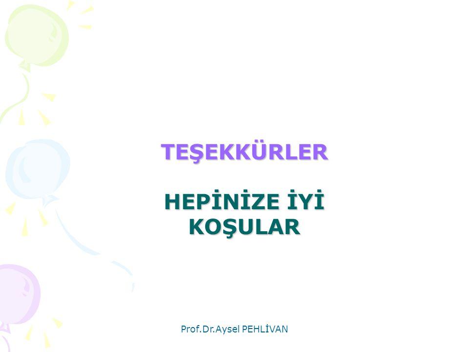 Prof.Dr.Aysel PEHLİVAN TEŞEKKÜRLER HEPİNİZE İYİ KOŞULAR