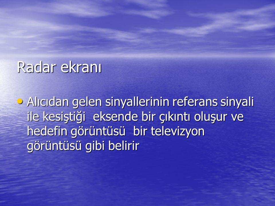 Radar ekranı • Alıcıdan gelen sinyallerinin referans sinyali ile kesiştiği eksende bir çıkıntı oluşur ve hedefin görüntüsü bir televizyon görüntüsü gi