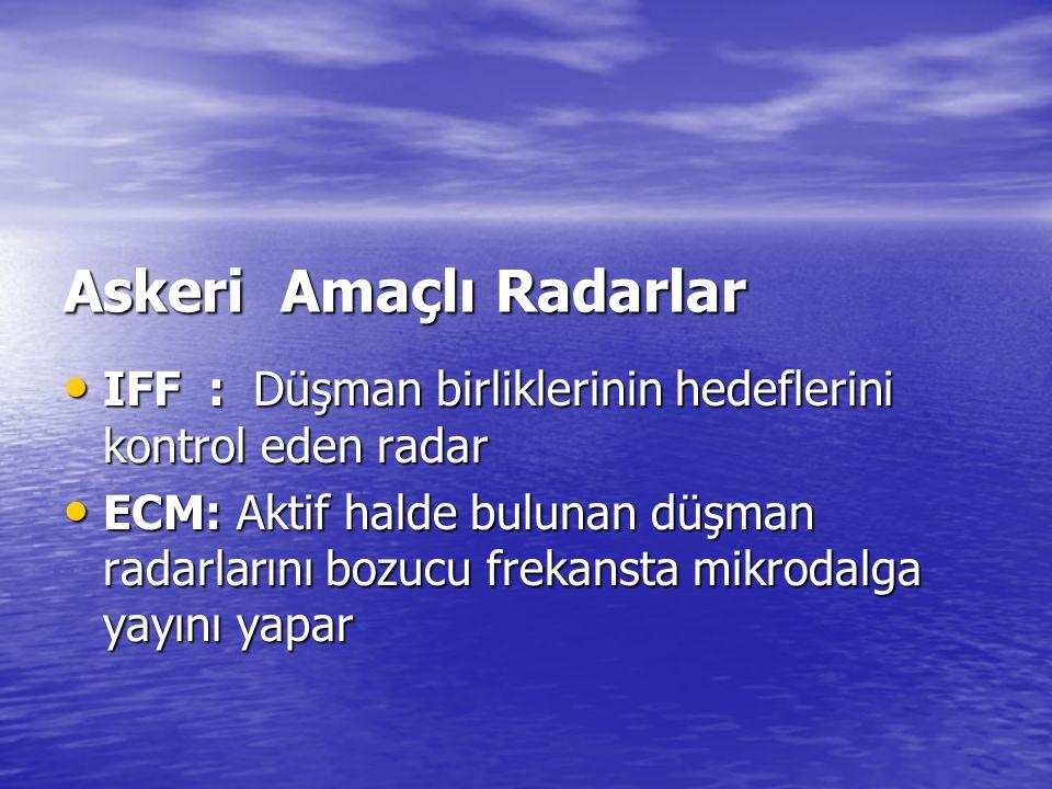 Askeri Amaçlı Radarlar • IFF : Düşman birliklerinin hedeflerini kontrol eden radar • ECM: Aktif halde bulunan düşman radarlarını bozucu frekansta mikr