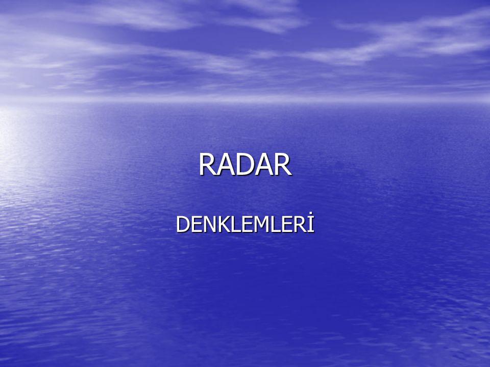 RADAR DENKLEMLERİ