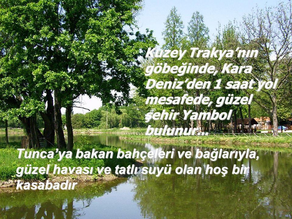 Tunca'ya bakan bahçeleri ve bağlarıyla, güzel havası ve tatlı suyü olan hoş bir kasabadır Kuzey Trakya'nın göbeğinde, Kara Deniz'den 1 saat yol mesafede, güzel şehir Yambol bulunur...