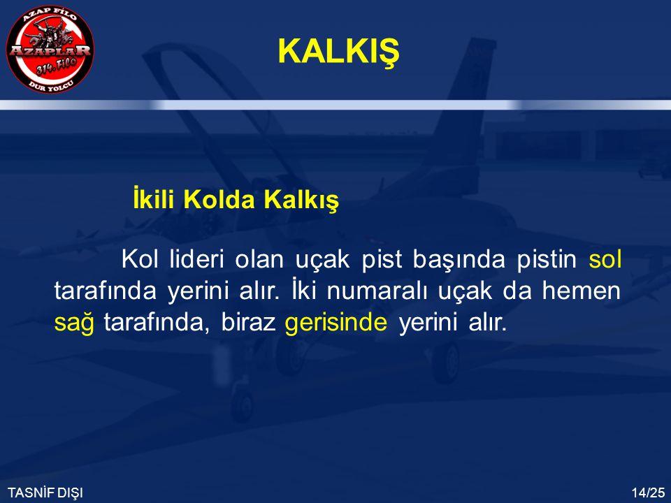 KALKIŞ TASNİF DIŞI14/25 Kol lideri olan uçak pist başında pistin sol tarafında yerini alır. İki numaralı uçak da hemen sağ tarafında, biraz gerisinde