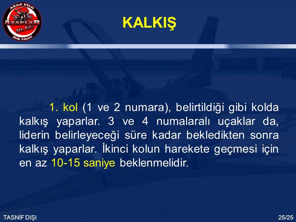 KALKIŞ TASNİF DIŞI25/25 1. kol (1 ve 2 numara), belirtildiği gibi kolda kalkış yaparlar. 3 ve 4 numalaralı uçaklar da, liderin belirleyeceği süre kada